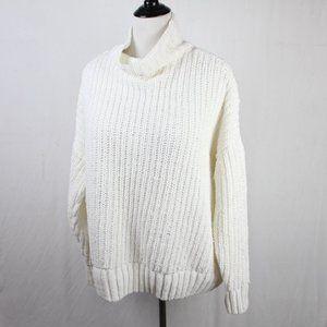 PINK Cream Chenille Sweater L